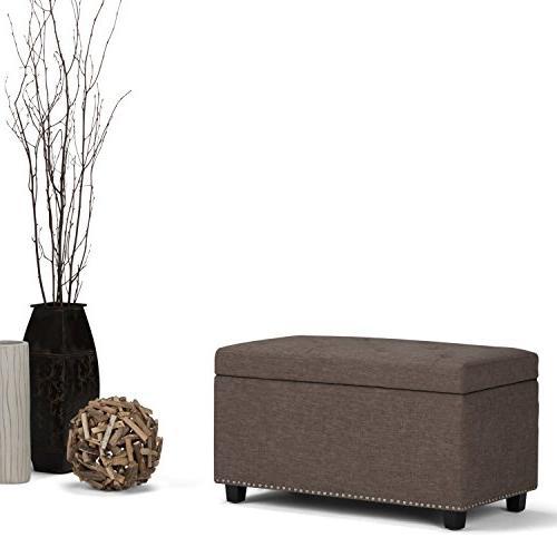 Simpli Hannah Storage Bench in Fawn Linen Fabric