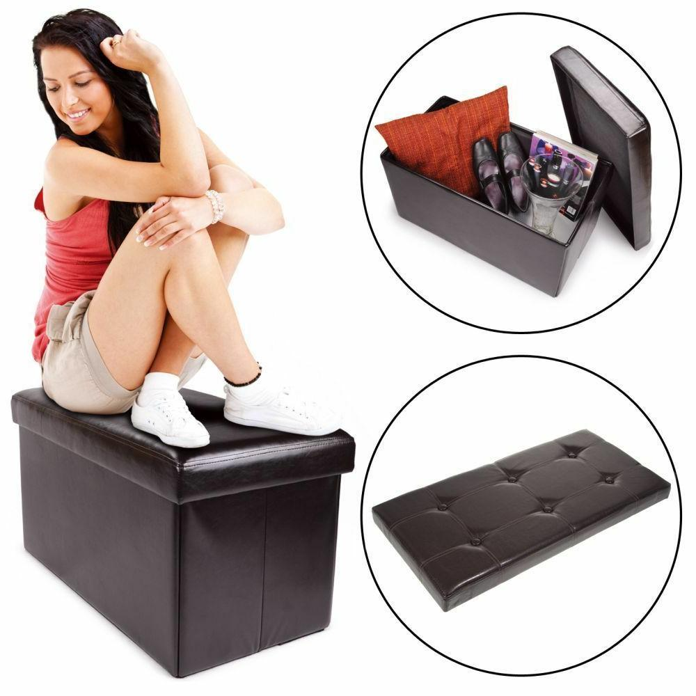 Black Red White Brown Collapsable Ottoman Storage Seat Bench