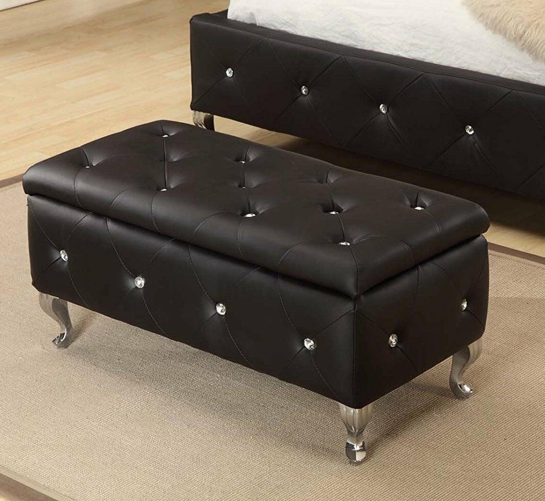 Black Bench Bedroom Upholstered