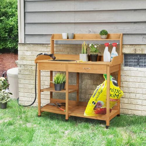 Potting Table Work Planting Benches with Sink Drawer Outdoor
