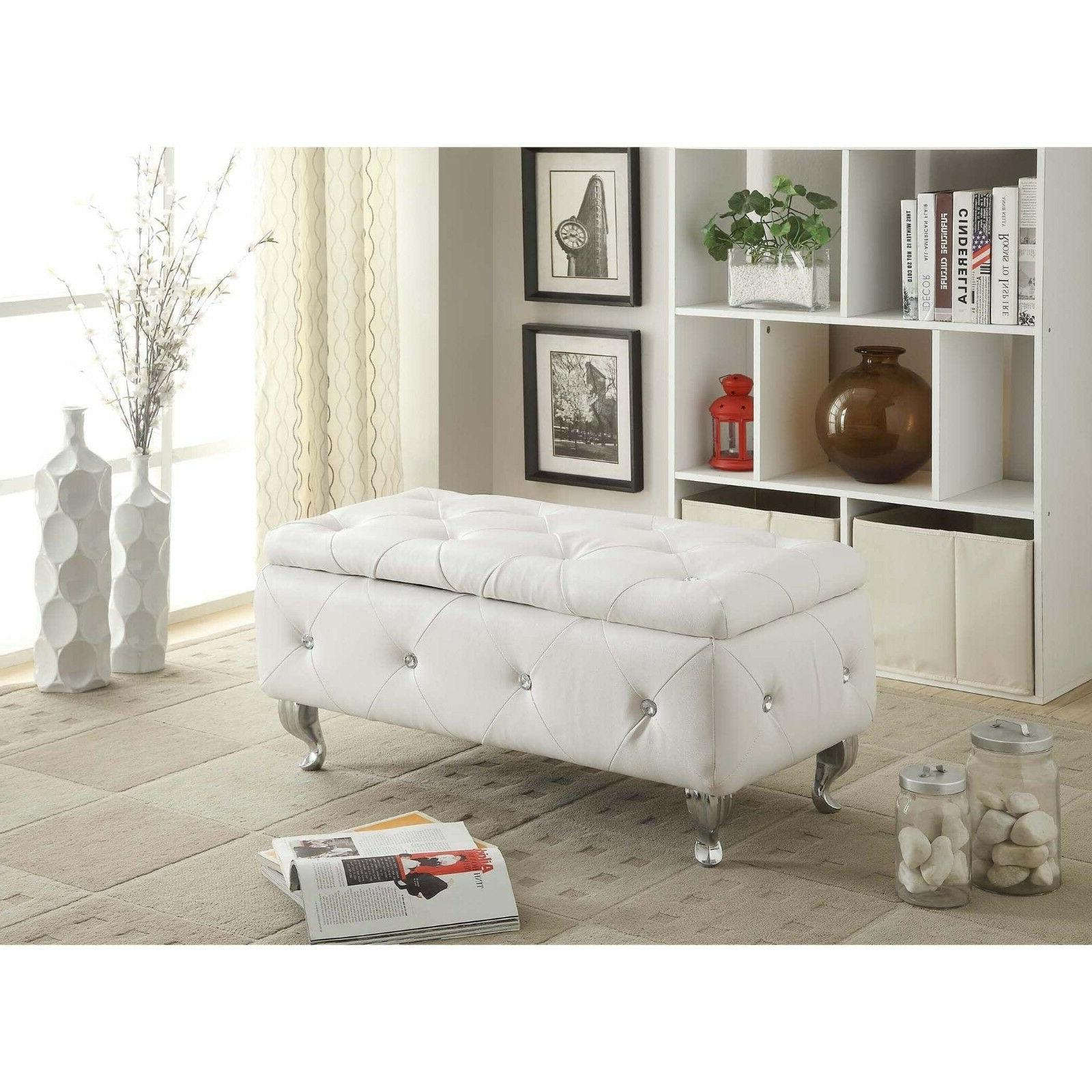 leather storage bench trunk chest upholstered modern footrest