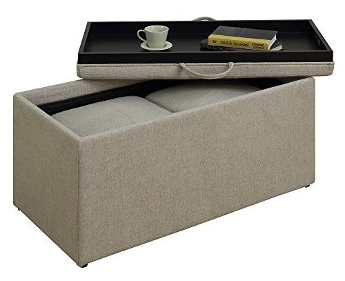 Convenience Concepts Designs4Comfort Sheridan Storage Soft Beige Fabric