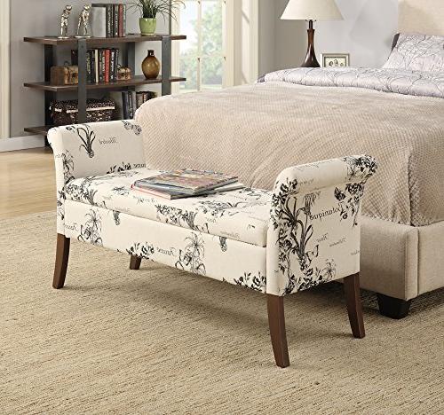 Designs4Comfort Storage Bedroom Bench, Botanical Fabric