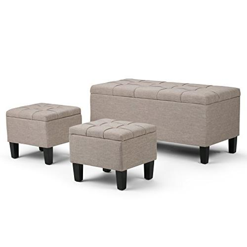 dover leather ottoman set