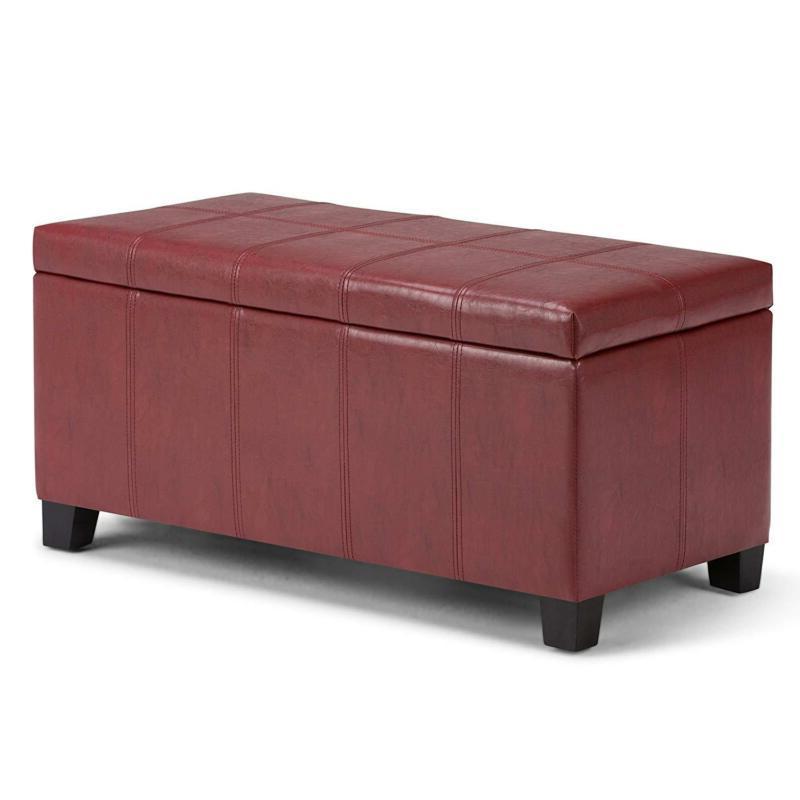 Simpli Dover Storage Ottoman Red