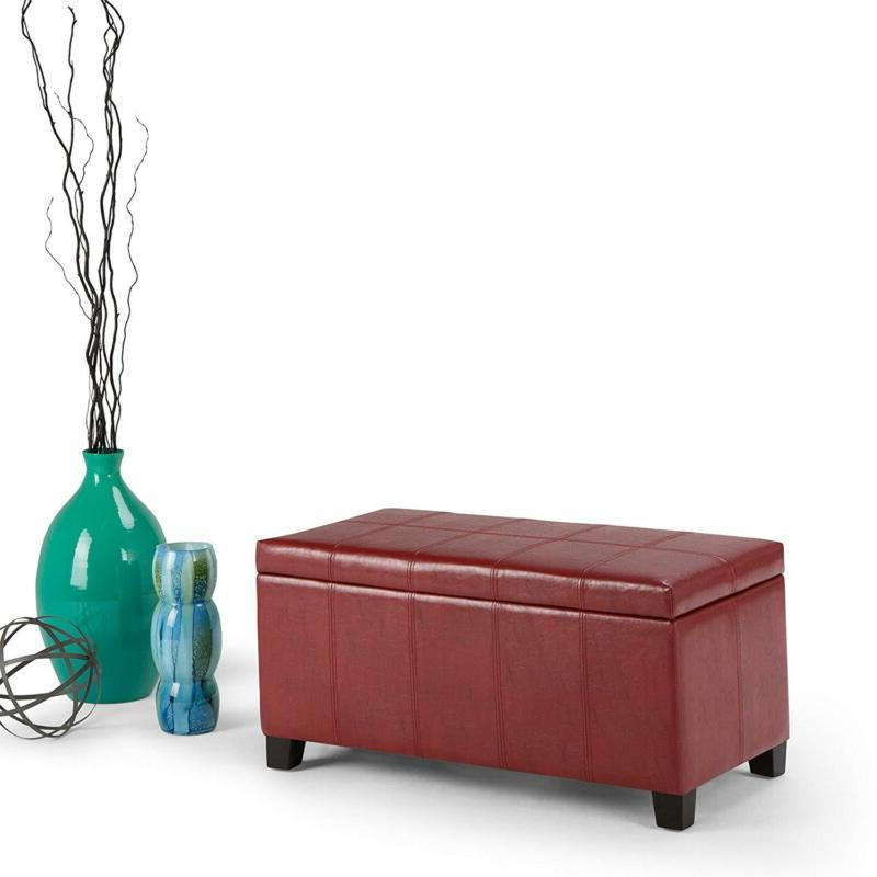 Simpli Home Dover Storage Ottoman Red