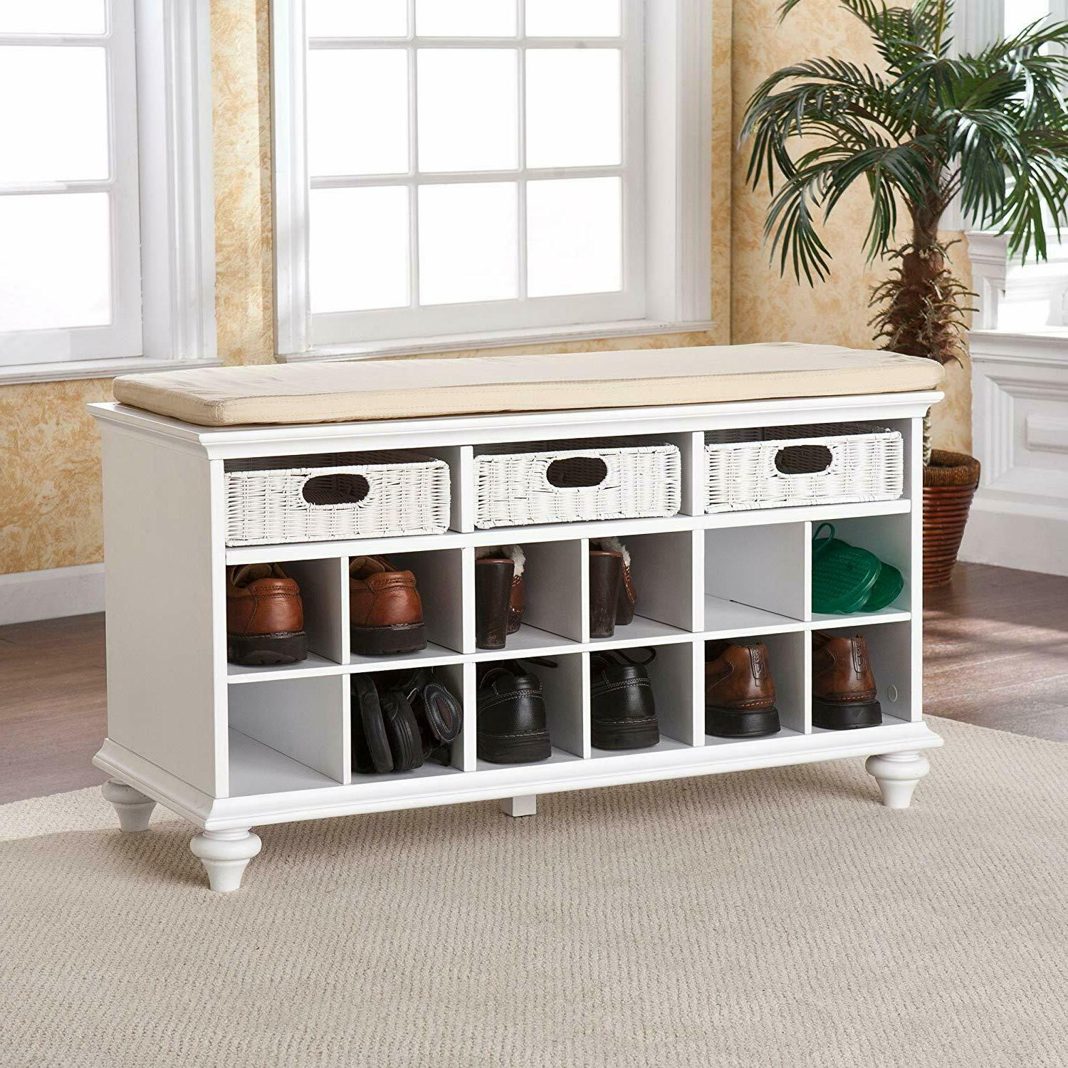 Entryway Shoe Storage Bench 3 Baskets Drawers White Cubby Or
