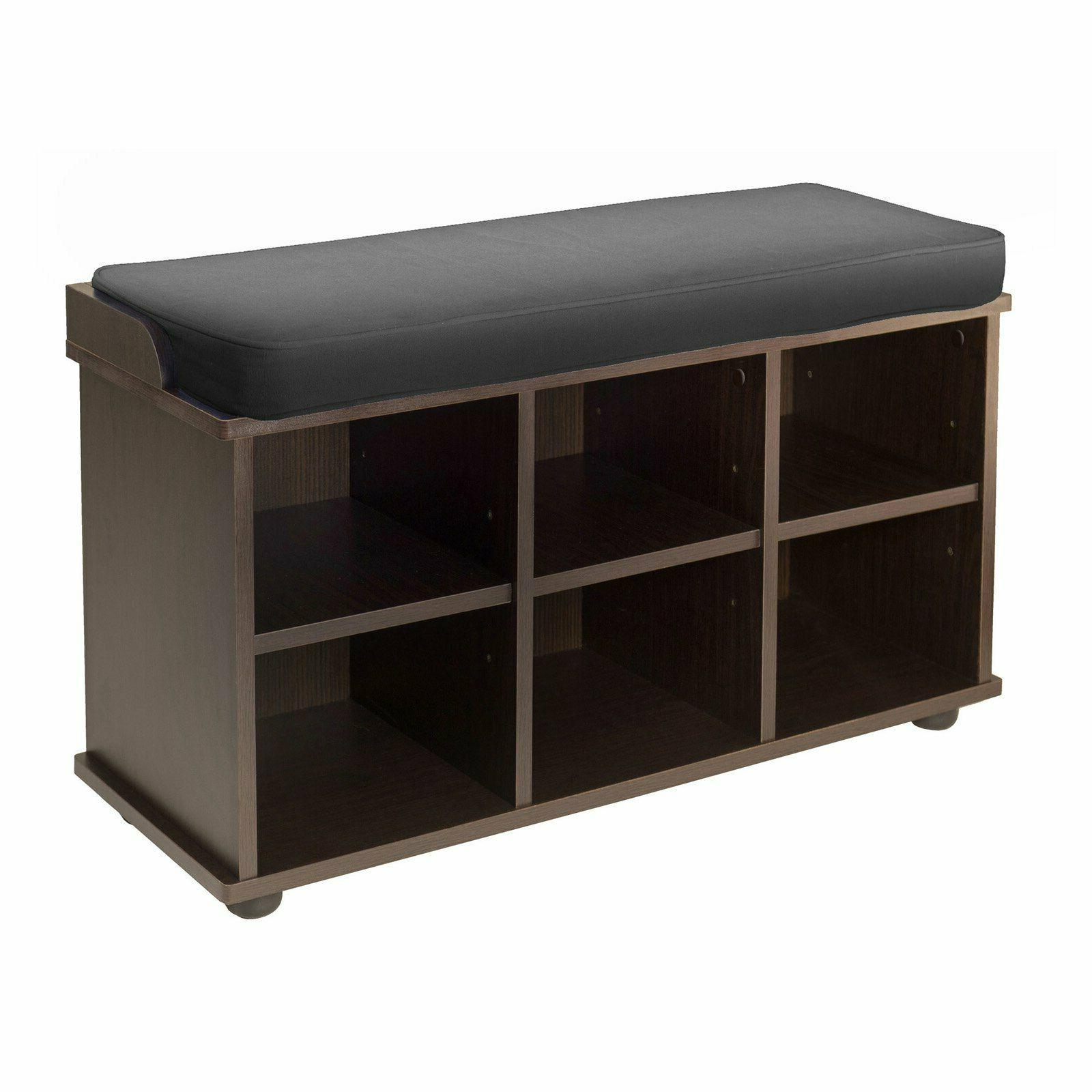 Townsend Storage Bench with Black Cushion Seat, Expresso Woo