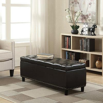 """Espresso Faux Leather 48"""" Storage Ottoman Large Bench Foot R"""