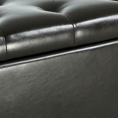 Espresso Faux Storage Ottoman Bench Foot Seat Decor