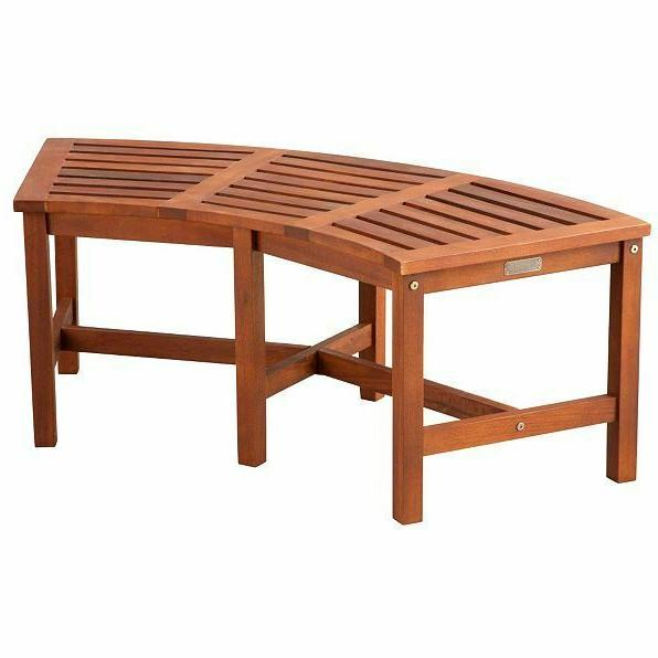 eucalyptus solid wood fire pit curved bench