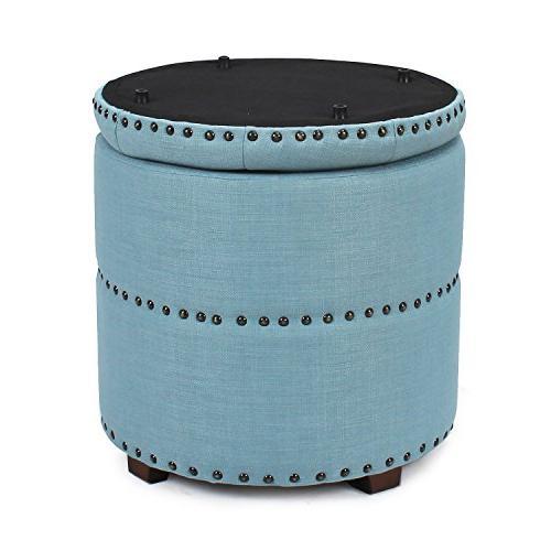 Adeco Euro Style Bench Ottoman Blue