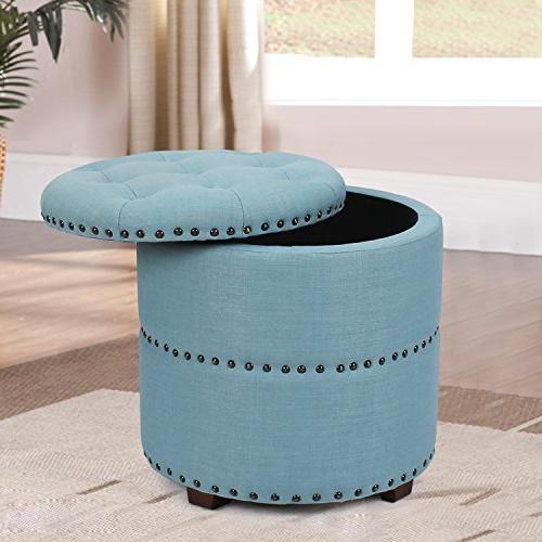 Adeco Euro Style Fabric Bench Ottoman Blue