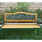 "50"" Floral Patio Porch Deck Hardwood Cast Iron Outdoor Garde"