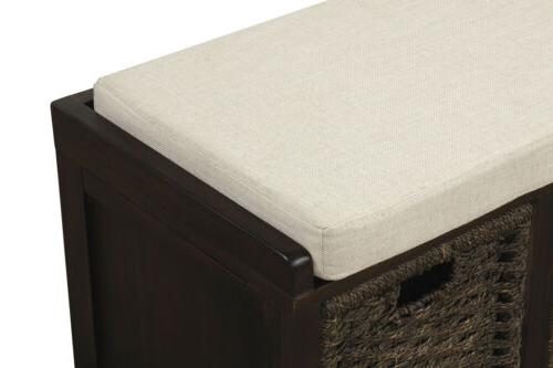 Espresso Storage Bench w/3Removable Classic Fabric
