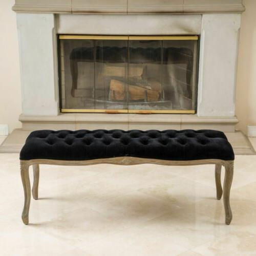 Francis Traditional Button Tufted Velvet Bench