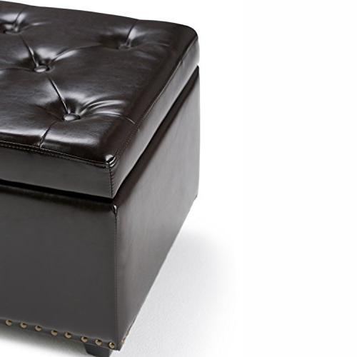 Simpli Leather Storage Ottoman Dark Brown