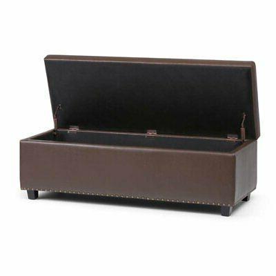 Leather Storage Bench Chocolate