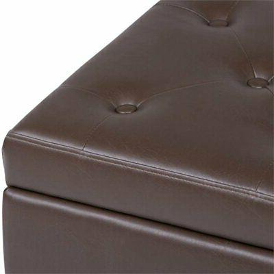 Simpli Home Hamilton Faux Leather Storage Bench in Chocolate Brown