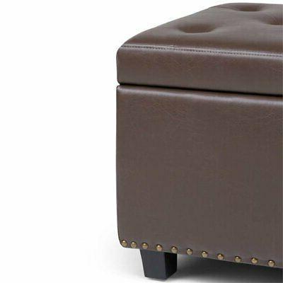 Simpli Leather Storage Bench Chocolate
