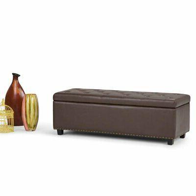 Simpli Home Leather Storage Bench Chocolate Brown