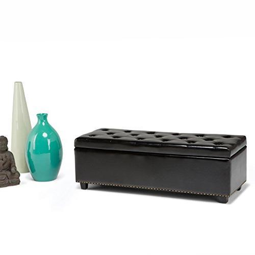 Simpli Home Storage Ottoman Midnight Black