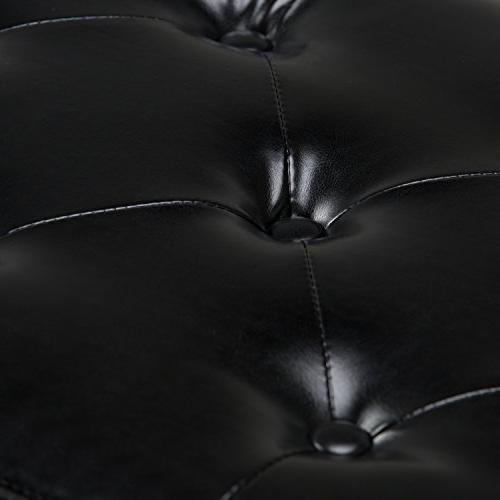 Simpli Home Hamilton Storage Ottoman in Midnight Black Bonded Leather
