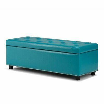 hamilton storage bench in mediterranean blue