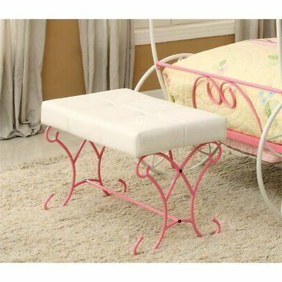 heiress kids bedroom bench in pink