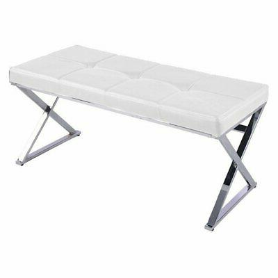 herald bedroom bench stainless steel and white