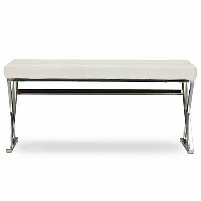 Baxton Herald Leather Bench in White and Silver