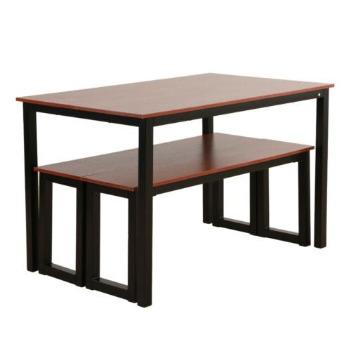 Modern Wood Dining Table with Metal Legs 2 Benches set For 4