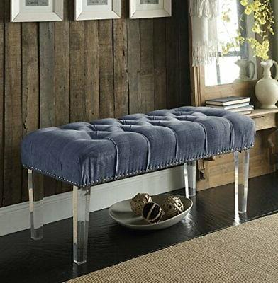 Iconic Home Odette Modern Button Tufted Grey Velvet Acrylic