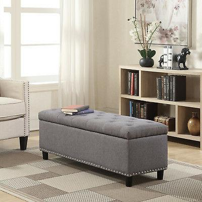 "48"" inch Rectangular Storage Linen Ottoman Bench Tufted Foot"