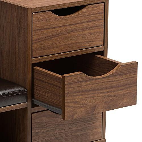 Baxton Walnut Wood With Open Shelves