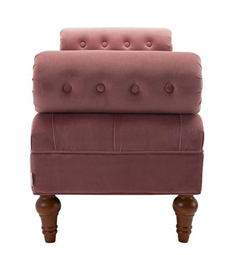 Jennifer Taylor Lewis Collection Modern Bolster Tufted Accent Bench With 2 Bolster Pillows,