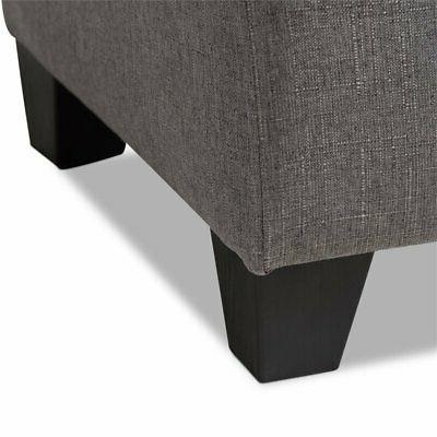 Baxton Michaela Upholstered Storage Ottoman in Grey