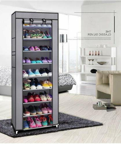 NEW 10 Rack Cabinet with Wall Shelf Shoe Tower
