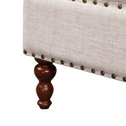 NEW Large Ottoman Bench Tufted Natural