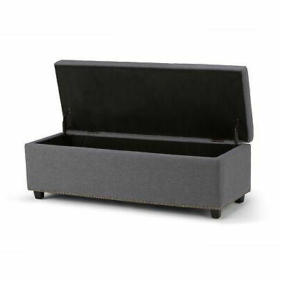 New Simpli Home Rectangular Bench, Large, Slate Grey