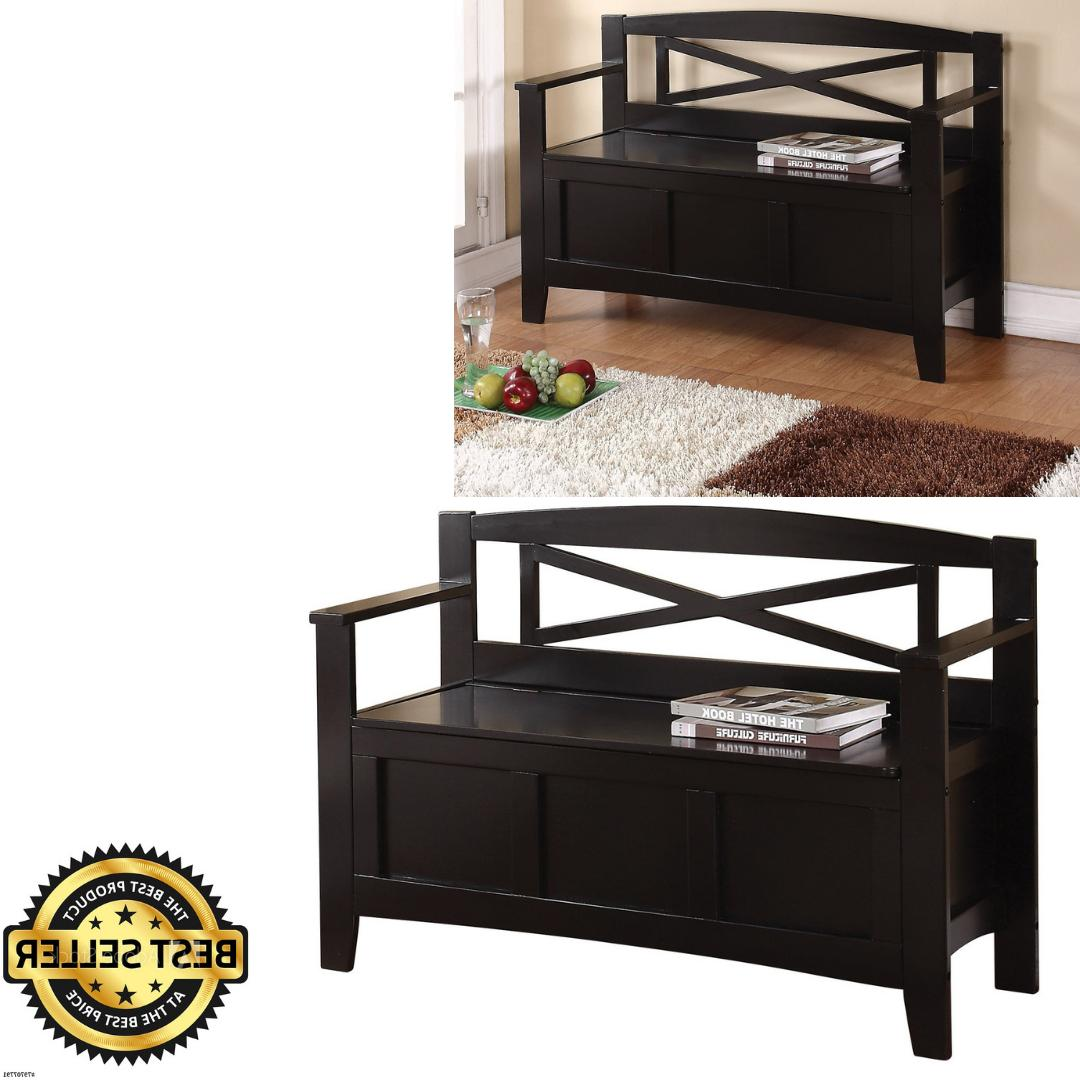 NEW Large Wooden Black Storage Bench Back Entryway Mud Room