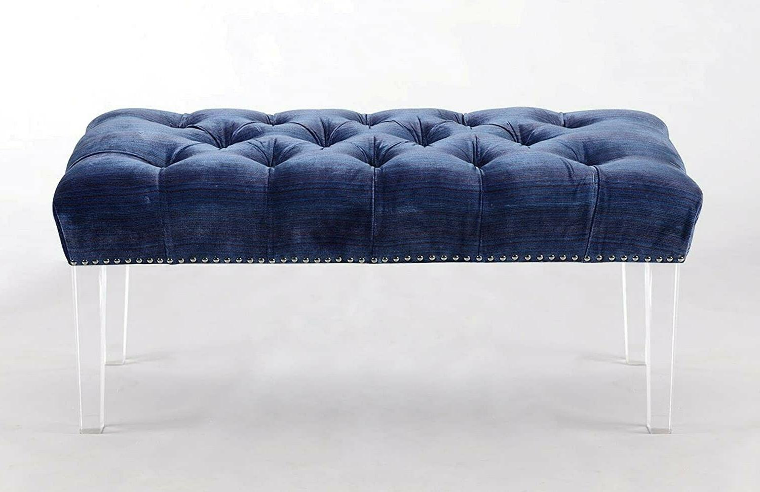 Iconic Home Odette Button Tufted Acrylic Ottoman Bench