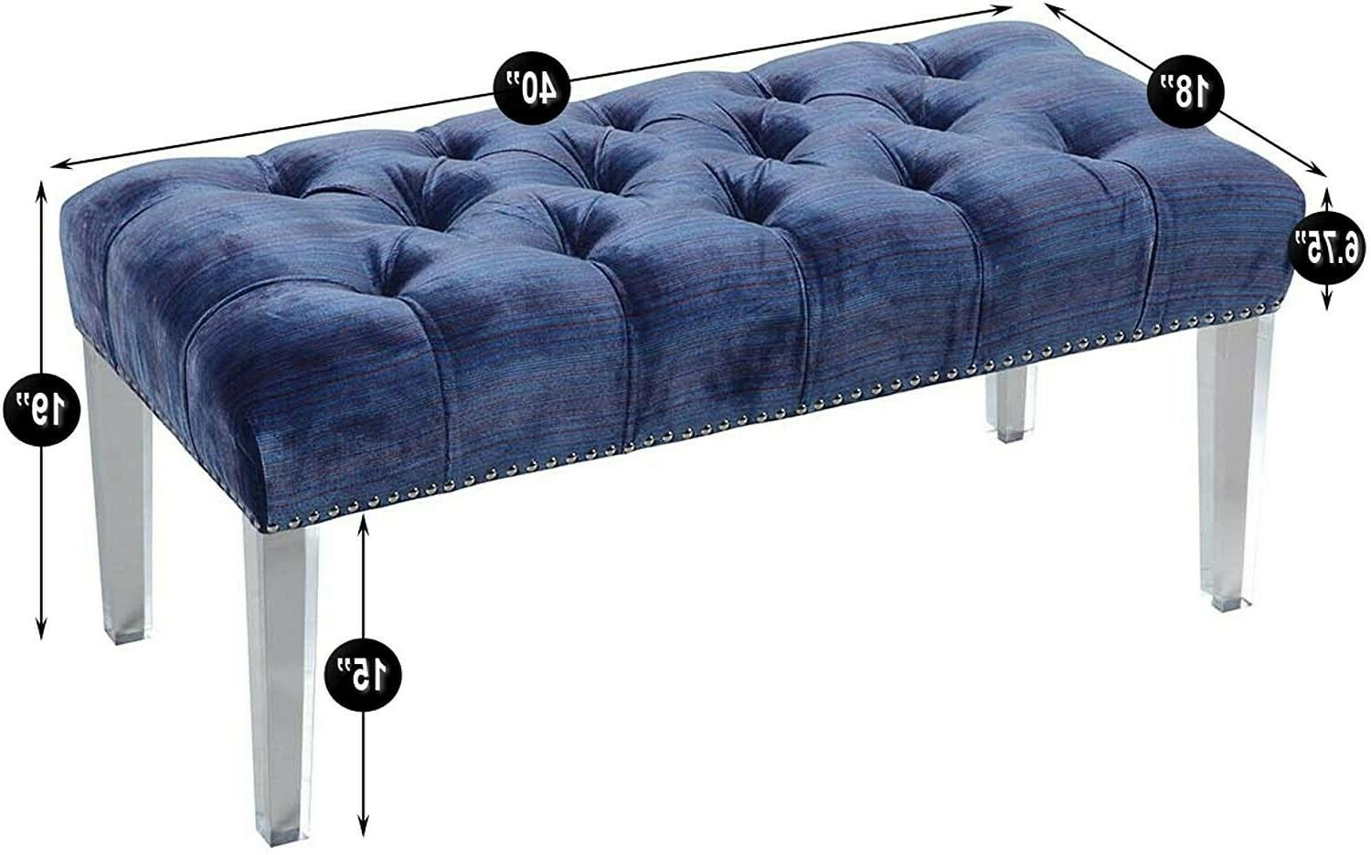 Iconic Home Odette Button Velvet Acrylic Bench