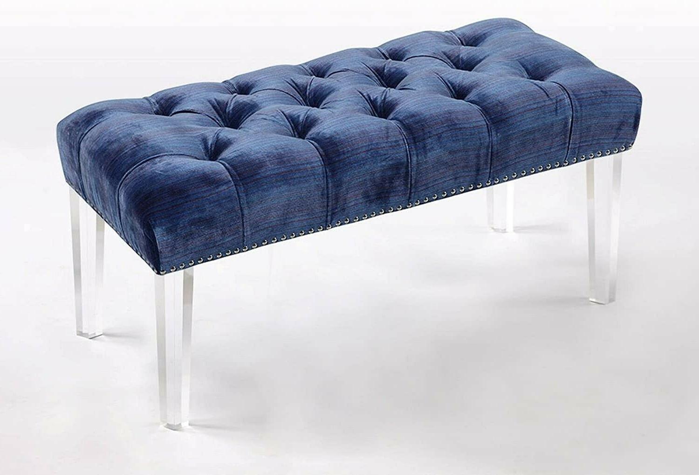 Iconic Modern Button Blue Velvet Acrylic Ottoman