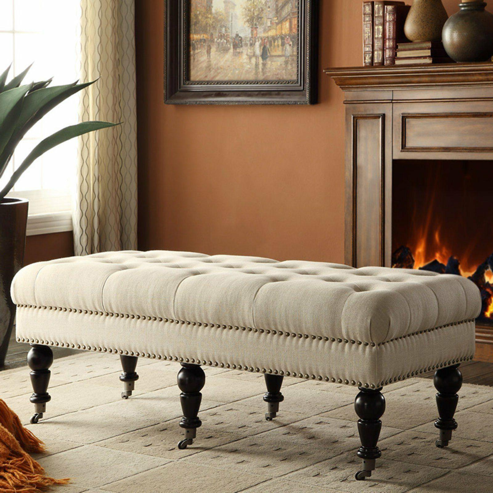 Ottomans on Wheels Upholstered Tufted Linen Vanity Bench for