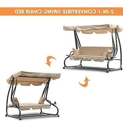 Outdoor 3-Person Porch Swing Loveseat Bed