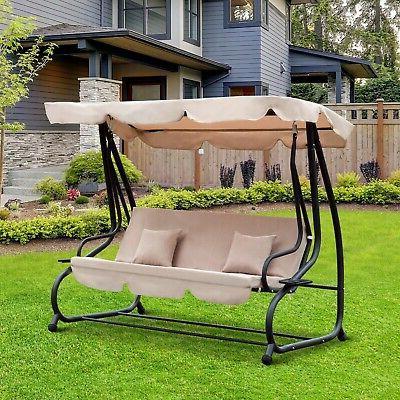 outdoor 3 person patio porch swing hammock