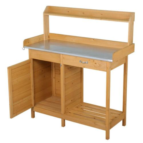 Outdoor Potting Bench Table Planting Cabinet