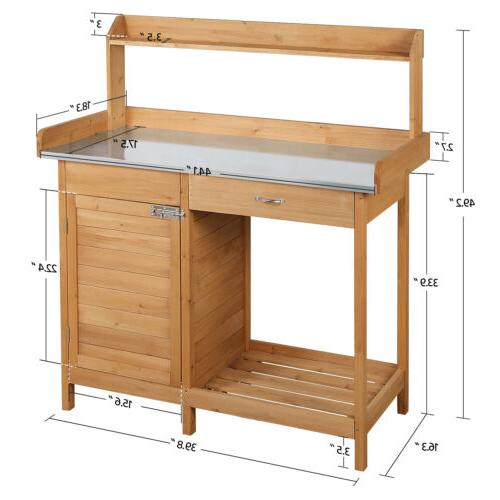 Outdoor Garden Potting Bench Table Benches Cabinet