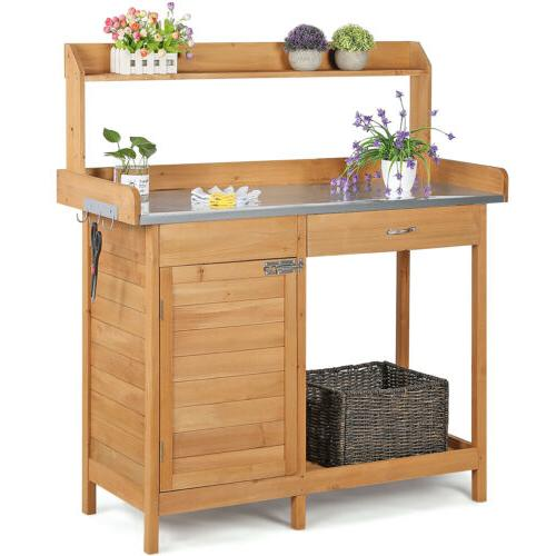 outdoor garden potting bench table planting work